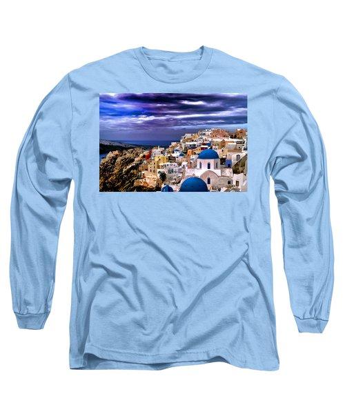 The Greek Isles Santorini Long Sleeve T-Shirt by Tom Prendergast