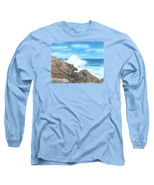 Long Sleeve T-Shirt featuring the drawing The Marginal Way by Troy Levesque