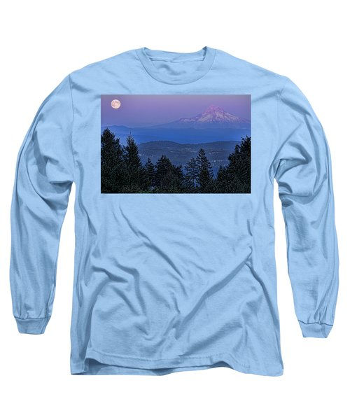 The Moon Beside Mt. Hood Long Sleeve T-Shirt by Don Schwartz