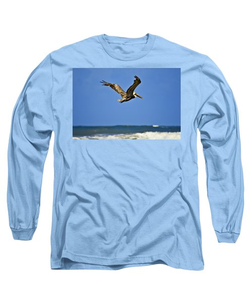 Long Sleeve T-Shirt featuring the photograph The Pelican And The Sea by DigiArt Diaries by Vicky B Fuller