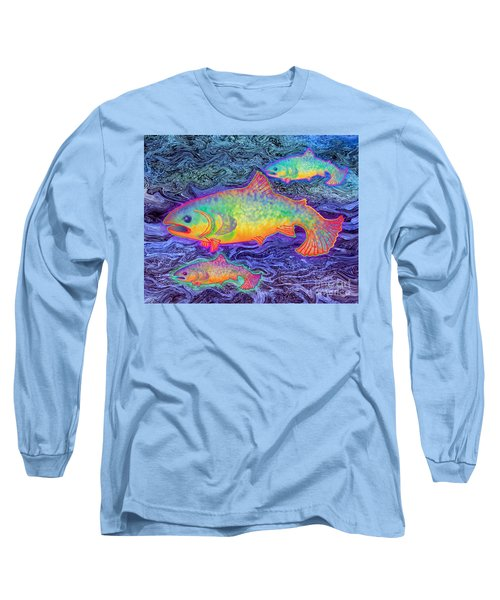 Long Sleeve T-Shirt featuring the mixed media The Salmon King by Teresa Ascone