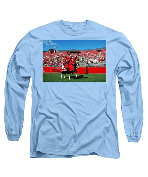 The Scarlet Knight And His Noble Steed Long Sleeve T-Shirt by Allen Beatty