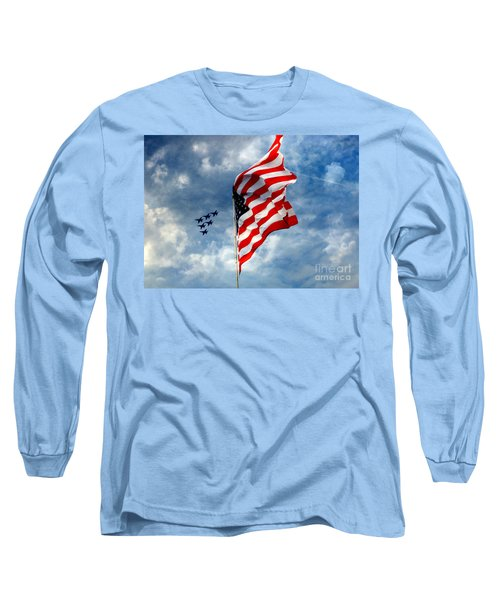 The Star Spangled Banner Yet Waves Long Sleeve T-Shirt by Lydia Holly