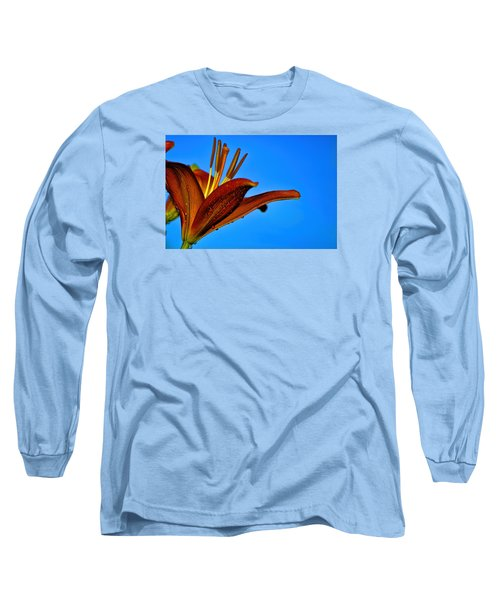 Thirsty Lily In Hdr Art Long Sleeve T-Shirt by Lesa Fine