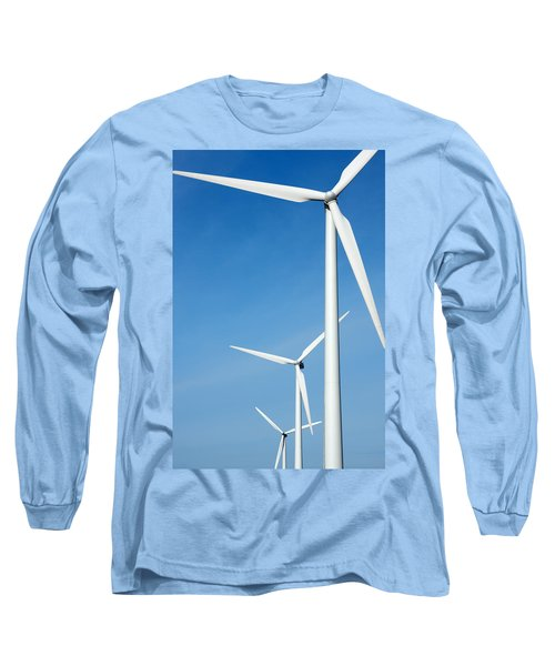 Three Mighty Windmills In A Row Against A Blue Sky. Long Sleeve T-Shirt