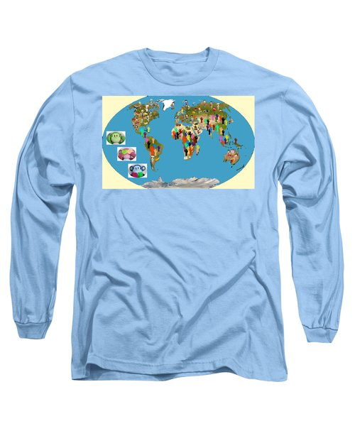 Three Monkeys And Hunger Long Sleeve T-Shirt by Zafer Gurel