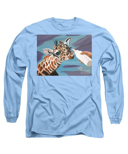 Tiny Baby Giraffe With Bottle Long Sleeve T-Shirt by Phyllis Kaltenbach