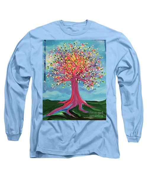 Long Sleeve T-Shirt featuring the painting Tori's Tree By Jrr by First Star Art