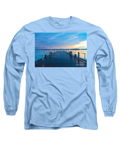 Long Sleeve T-Shirt featuring the photograph Toronto Pier During A Winter Sunset by Nina Silver