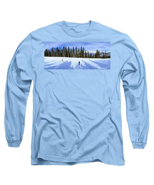 Tourists Skiing On Snow Covered Long Sleeve T-Shirt