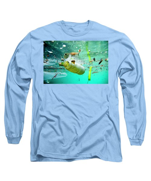 Trash Floating On The Marseille Shore Long Sleeve T-Shirt