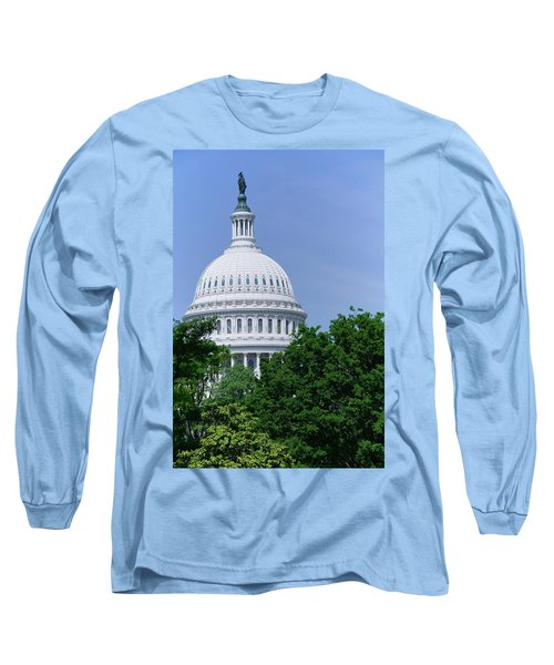 Trees In Spring And U.s. Capitol Dome Long Sleeve T-Shirt