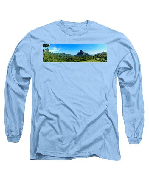 Tropical Moorea Panorama Long Sleeve T-Shirt by IPics Photography