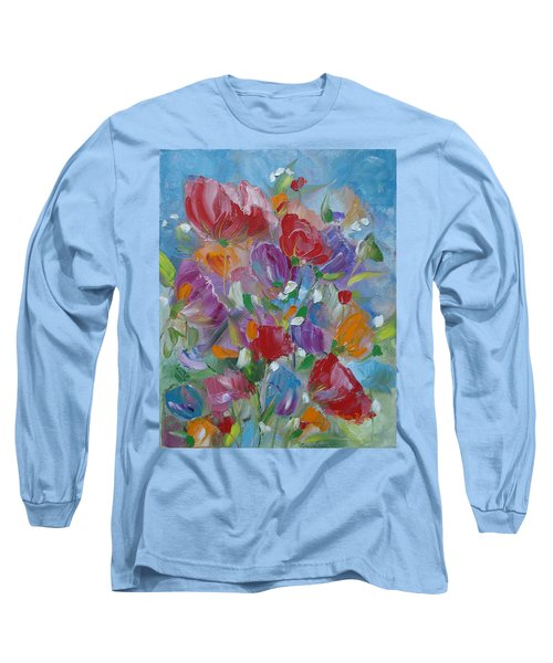 Long Sleeve T-Shirt featuring the painting Tulip Symphony by Judith Rhue