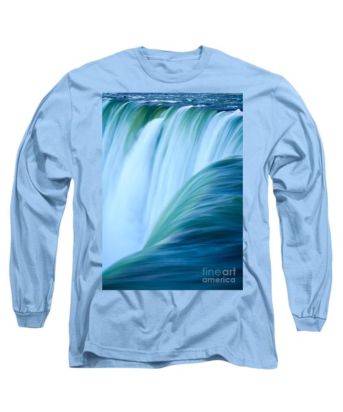 Long Sleeve T-Shirt featuring the photograph Turquoise Blue Waterfall by Peta Thames