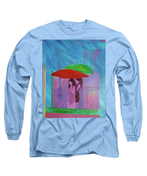 Long Sleeve T-Shirt featuring the painting Umbrella Girls by First Star Art