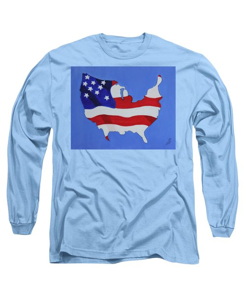 Us Flag Long Sleeve T-Shirt by Lorna Maza