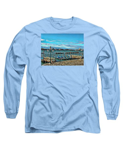 Long Sleeve T-Shirt featuring the photograph Venice Gondolas On The Grand Canal by Kathy Churchman