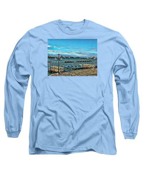 Venice Gondolas On The Grand Canal Long Sleeve T-Shirt by Kathy Churchman