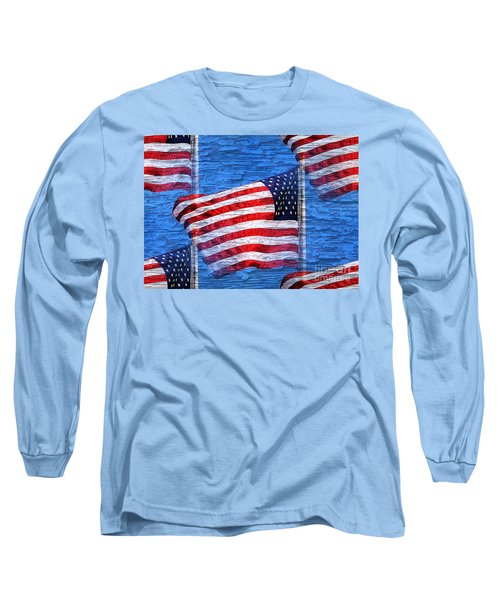 Vintage Amercian Flag Abstract Long Sleeve T-Shirt by Judy Palkimas