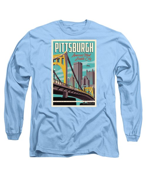 Vintage Style Pittsburgh Travel Poster Long Sleeve T-Shirt by Jim Zahniser