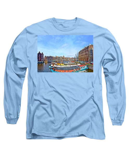 Long Sleeve T-Shirt featuring the photograph Waalseilandgracht Amsterdam by Frans Blok