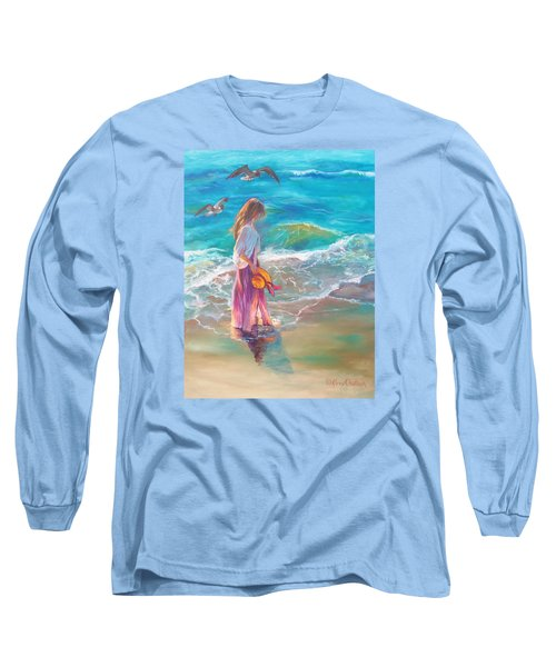 Walking In The Waves Long Sleeve T-Shirt by Karen Kennedy Chatham