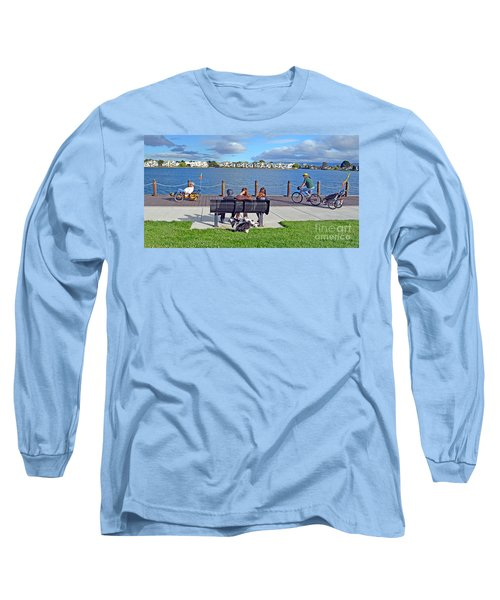 Long Sleeve T-Shirt featuring the photograph Watching The Bikes Go By At Congressman Leo Ryan's Memorial Park by Jim Fitzpatrick