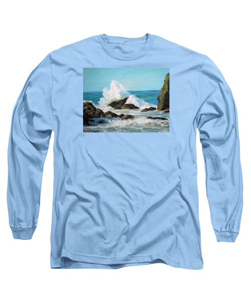 Long Sleeve T-Shirt featuring the painting Wave by Jieming Wang