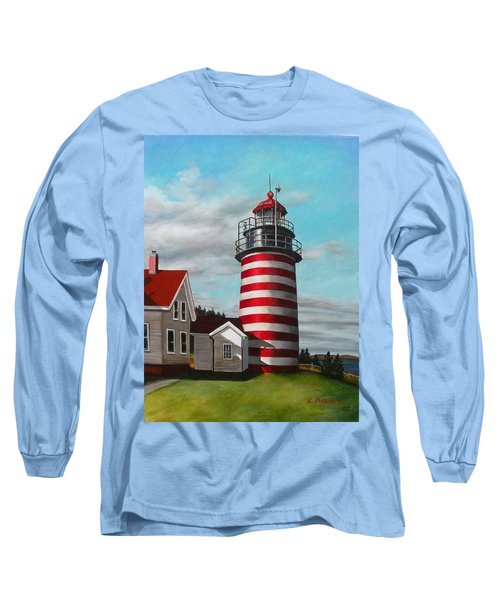 West Quoddy Head Lighthouse Long Sleeve T-Shirt by Eileen Patten Oliver