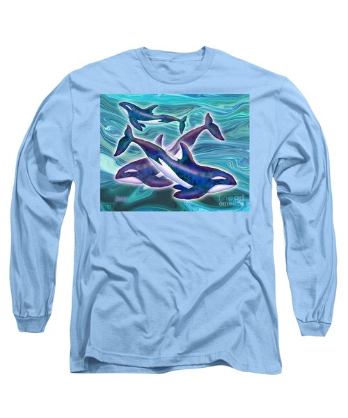 Long Sleeve T-Shirt featuring the mixed media Whale Whimsey by Teresa Ascone