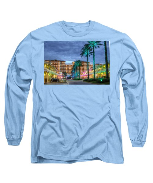 Long Sleeve T-Shirt featuring the digital art Wharf Turquoise Lighted  by Michael Thomas