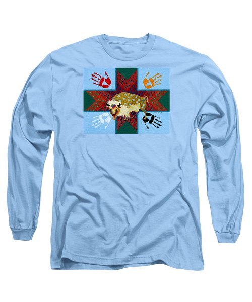 Long Sleeve T-Shirt featuring the painting White Buffalo Calf Legend by Chholing Taha