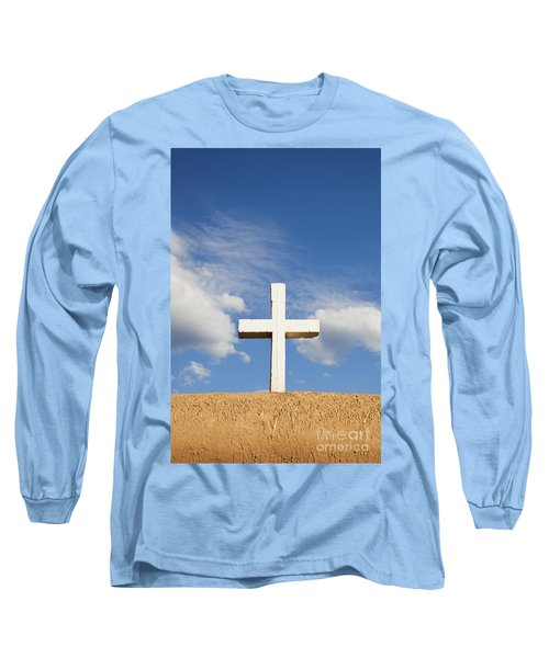 White Cross On Adobe Wall Long Sleeve T-Shirt