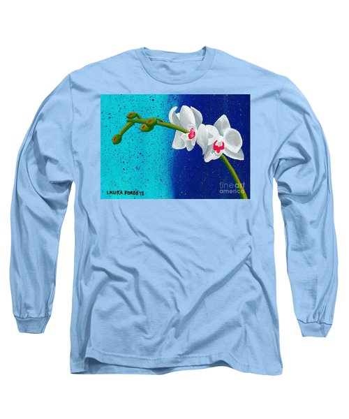 White Orchids On Blue Long Sleeve T-Shirt by Laura Forde