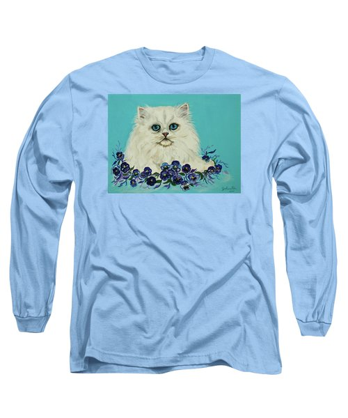 Long Sleeve T-Shirt featuring the painting White Persian In Pansy Patch Original Forsale by Bob and Nadine Johnston