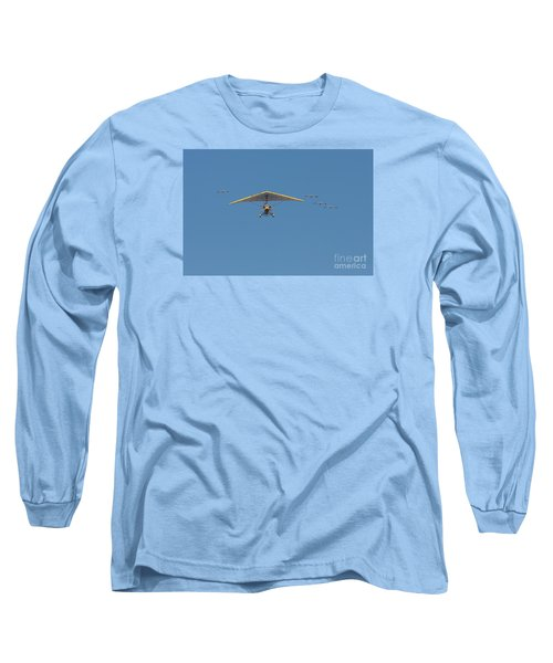 Long Sleeve T-Shirt featuring the photograph Whooping Cranes And Operation Migration Ultralight by Paul Rebmann