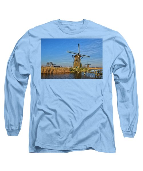 Windmills And Bridge Near Kinderdijk Long Sleeve T-Shirt by Frans Blok