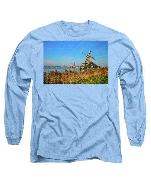 Long Sleeve T-Shirt featuring the photograph Windmills On De Zaan by Jonah  Anderson