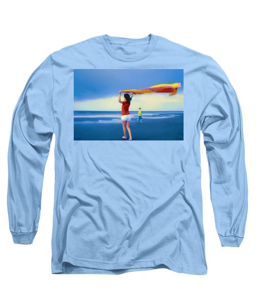 Children Playing On The Beach Long Sleeve T-Shirt by Vizual Studio