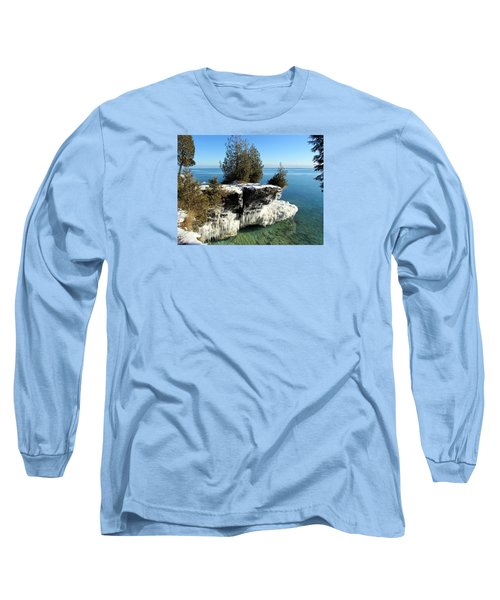 Winter At Cave Point Long Sleeve T-Shirt by David T  Wilkinson