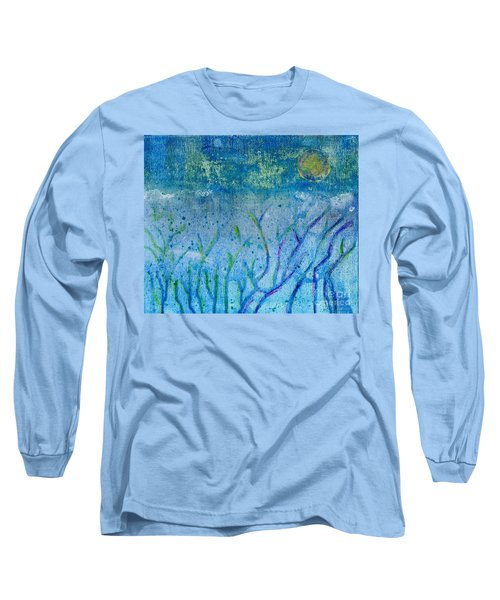 Winter Forest In Moonlight Long Sleeve T-Shirt by Desiree Paquette