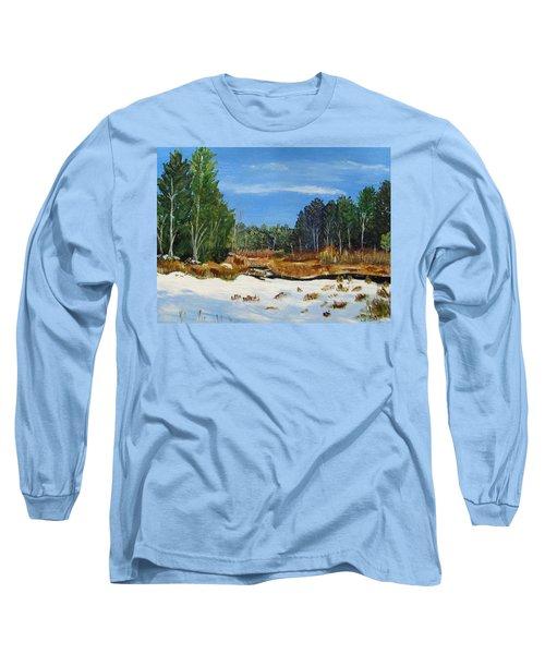 Winter Marsh In Hooksett Long Sleeve T-Shirt