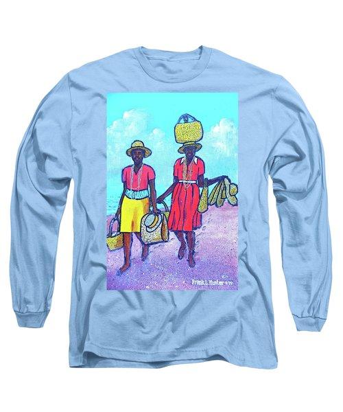 Women On Beach At Grenada Long Sleeve T-Shirt