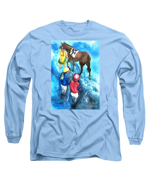 Long Sleeve T-Shirt featuring the painting Giddy Up Girls by Therese Alcorn
