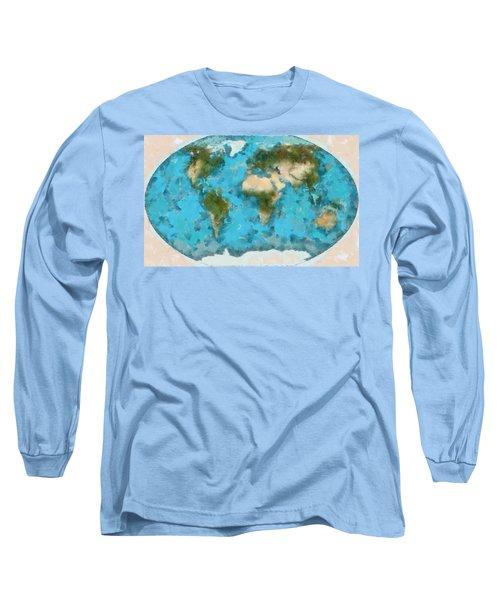World Map Cartography Long Sleeve T-Shirt by Georgi Dimitrov