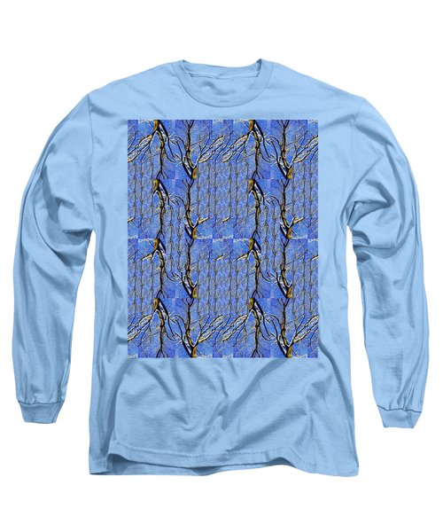 Woven Tree In Blue And Gold Long Sleeve T-Shirt