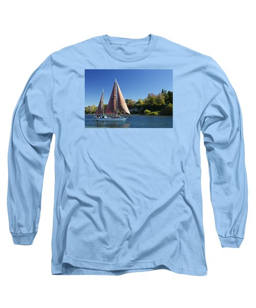 Yacht Fearless On Lake Taupo  Long Sleeve T-Shirt by Venetia Featherstone-Witty