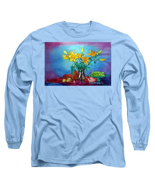 Yellow Lily In A Vase Long Sleeve T-Shirt