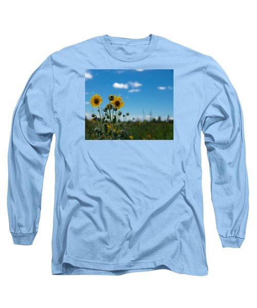 Yellow Flower On Blue Sky Long Sleeve T-Shirt